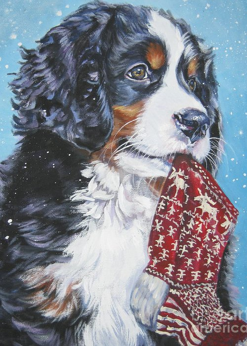 Bernese Mountain Dog Greeting Card featuring the painting Bernese Mountain Dog Xmas Stocking by Lee Ann Shepard