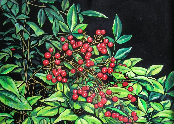 Foliage Greeting Card featuring the painting Berries - Pyracantha by Olga Kaczmar
