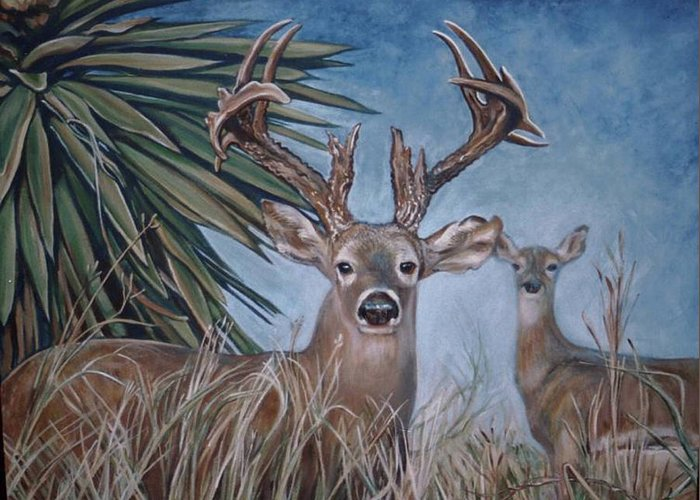 Deer Greeting Card featuring the painting Berry Buck And Doe by Diann Baggett