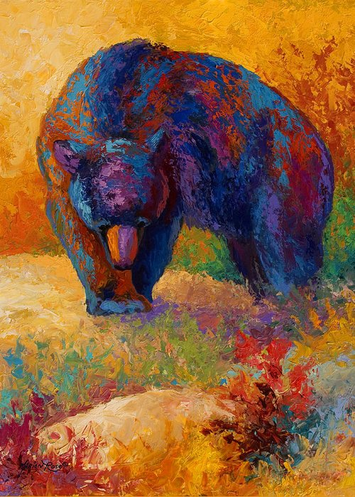 Bear Greeting Card featuring the painting Berry Hunting by Marion Rose