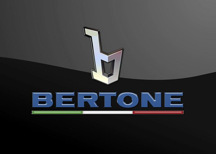 'auto Badges' Collection By Serge Averbukh Greeting Card featuring the photograph Bertone - 3 D Badge On Black by Serge Averbukh