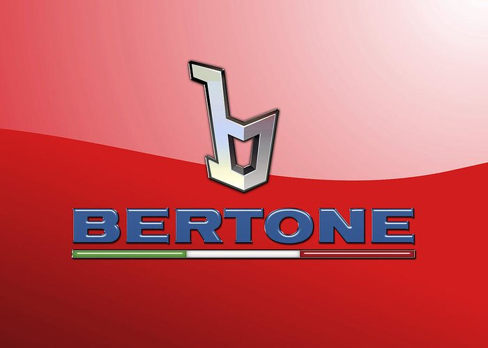�wheels Of Fortune� Collection By Serge Averbukh Greeting Card featuring the photograph Bertone 3 D Badge on Red by Serge Averbukh