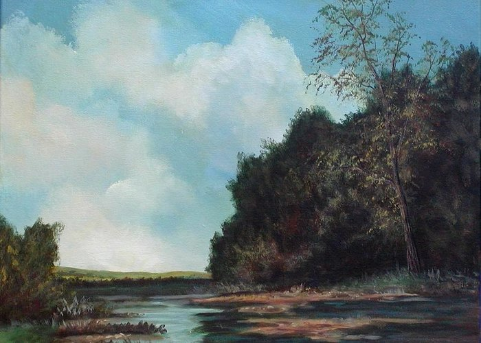 Original Acrylic Landscape On Canvas Greeting Card featuring the painting Beside Still Waters by Sharon Steinhaus