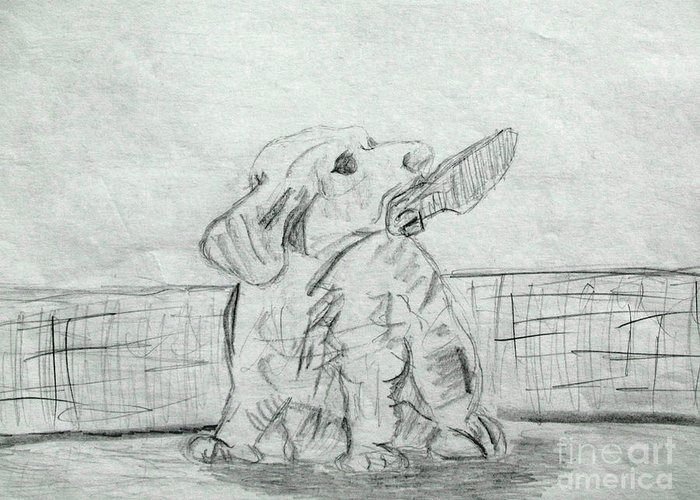 Dog Pencil Sketch Greeting Card featuring the drawing Best Friend 2 by Julie Coughlin