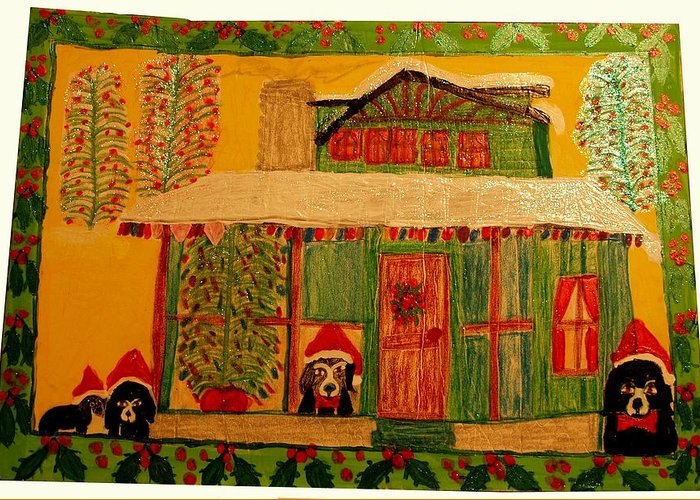 Christmas Greeting Card featuring the painting Best Friends Christmas by Betty Roberts