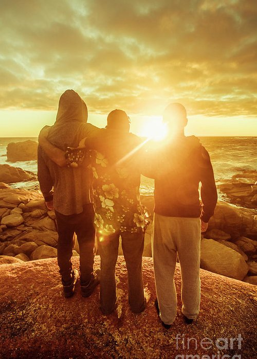 Friends Greeting Card featuring the photograph Best Friends Greeting The Sun by Jorgo Photography - Wall Art Gallery