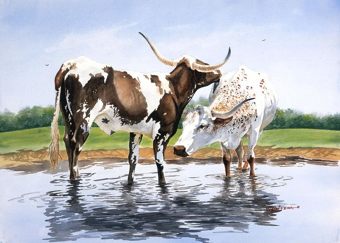 Longhorns Greeting Card featuring the painting Best Friends by Howard Dubois