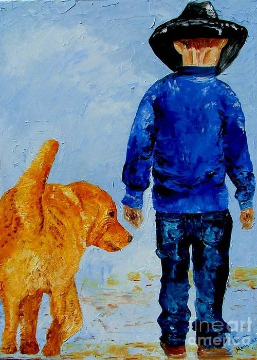 Dog Greeting Card featuring the painting Best Friends by Inna Montano