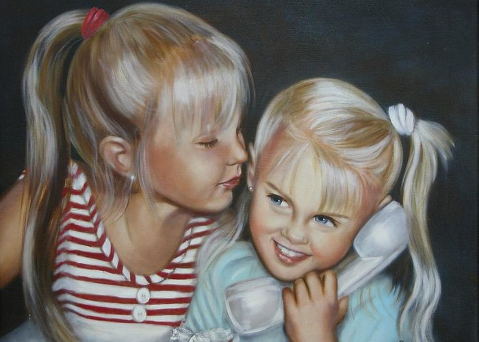 Portrait Greeting Card featuring the painting Best Friends by Joni McPherson