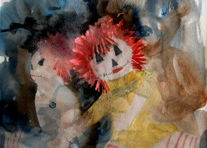 Dolls Greeting Card featuring the painting Best Friends by Lisa Schorr