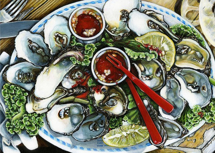 Oysters Food Still Life Greeting Card featuring the painting Best by Leo Malboeuf