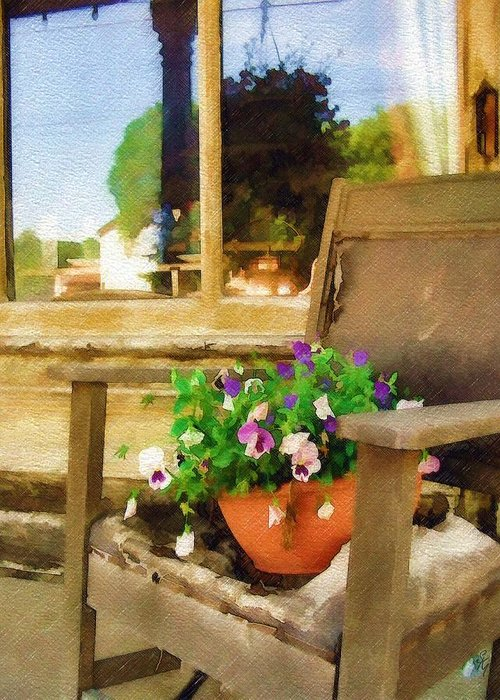 Pansies Greeting Card featuring the photograph Best Seat In The House by Sandy MacGowan