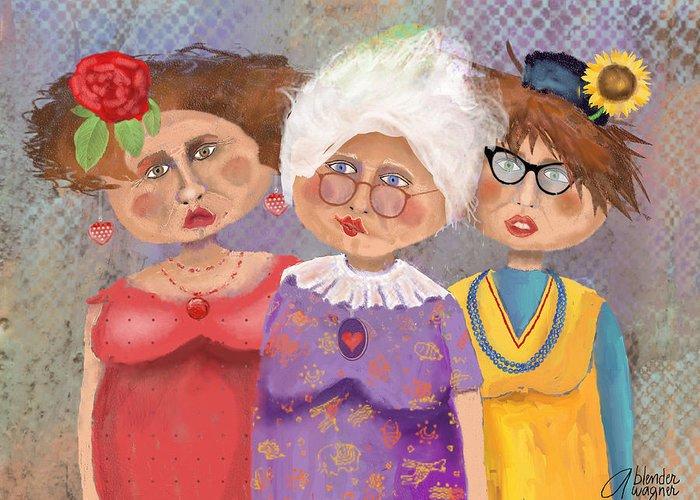 Ladies Greeting Card featuring the digital art Bestfriendsforever by Arline Wagner