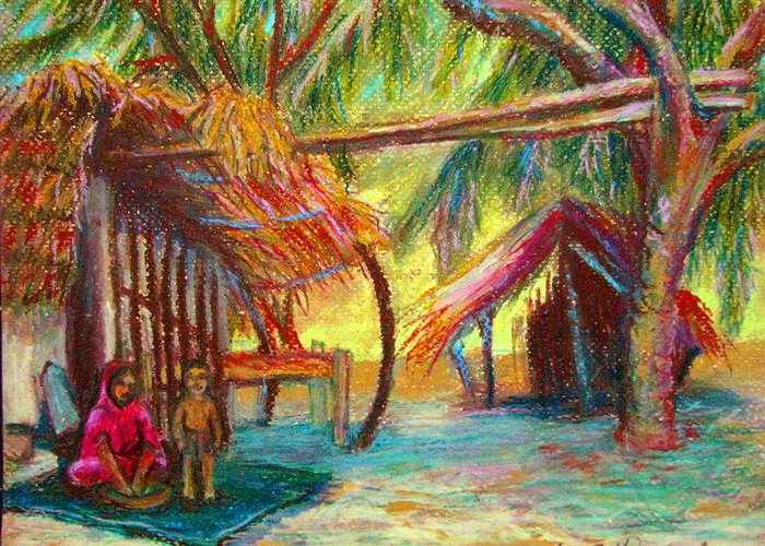 Oil Pastel Greeting Card featuring the pastel Betawar Village Life by Art Nomad Sandra Hansen