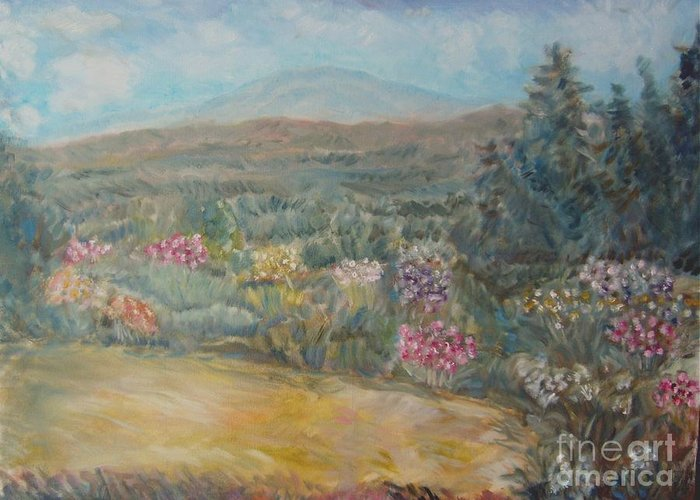 Landscape Mountain Trees Gardens Flowers Greeting Card featuring the painting Bethel 9 M by Joseph Sandora Jr