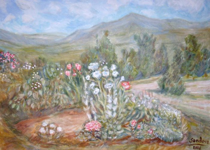 Landscape Flowers Gardens Mountain Greeting Card featuring the painting Bethel Wmib by Joseph Sandora Jr
