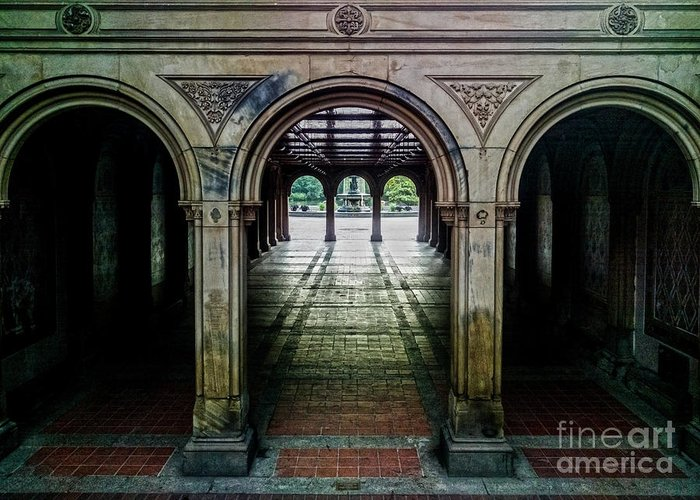 Central Park Greeting Card featuring the photograph Bethesda Terrace Arcade 1 by James Aiken