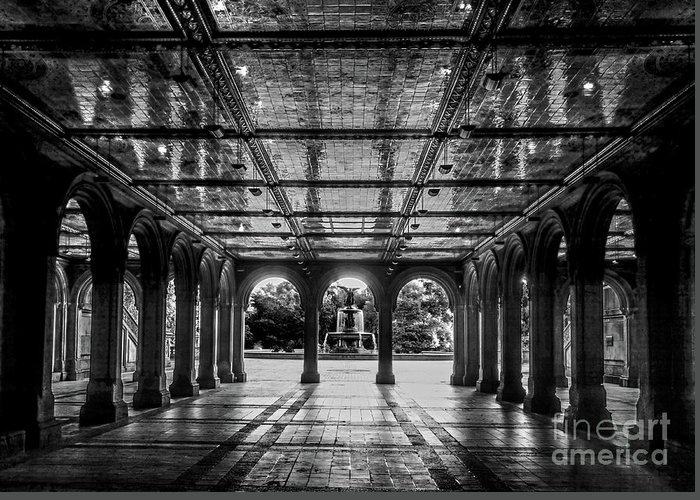 Central Park Greeting Card featuring the photograph Bethesda Terrace Arcade 2 - Bw by James Aiken