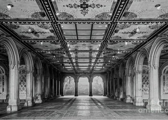 Central Park Greeting Card featuring the photograph Bethesda Terrace Arcade 3 - Bw by James Aiken