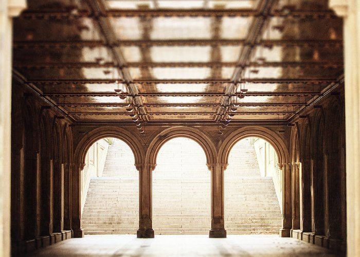 Nyc Greeting Card featuring the photograph Bethesda Terrace In Color by Lisa Russo