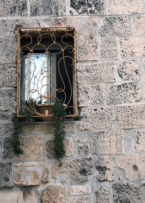 Bethlehem Greeting Card featuring the photograph Bethlehem - Nativity Church Window by Munir Alawi