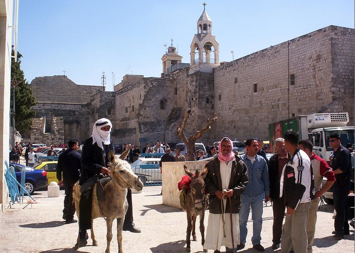 Bethlehem Greeting Card featuring the photograph Bethlehem - Nativity Square Demonstration by Munir Alawi