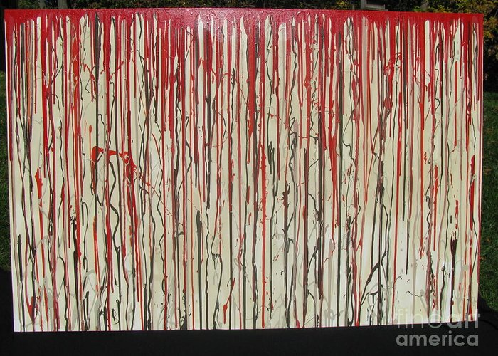 Blood Greeting Card featuring the painting Betrayal by Jacqueline Athmann