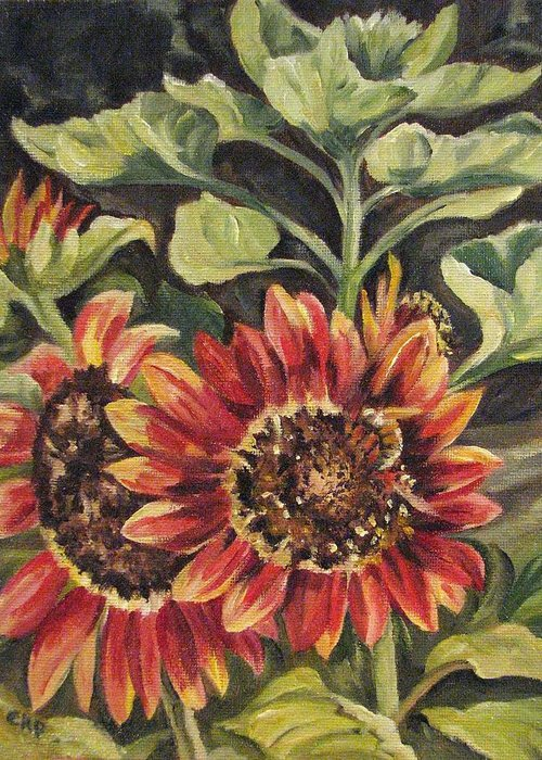Floral Greeting Card featuring the painting Betsy's Sunflowers by Cheryl Pass