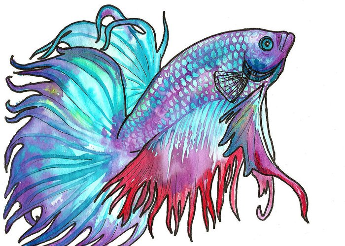 Fish Greeting Card featuring the painting Betta Fish by Jenn Cunningham