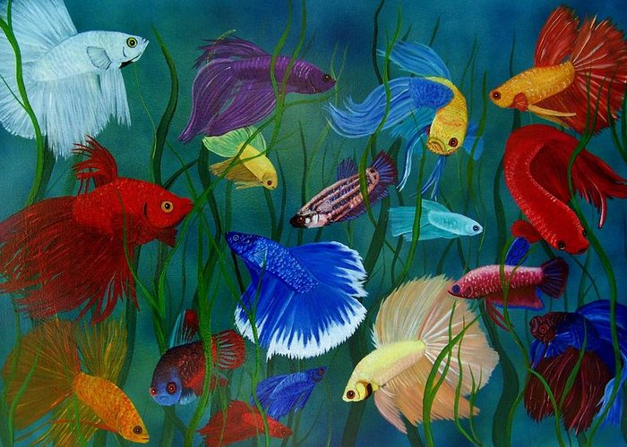 Siamese Fighting Fish Greeting Card featuring the painting Bettas In Motion by Debbie LaFrance