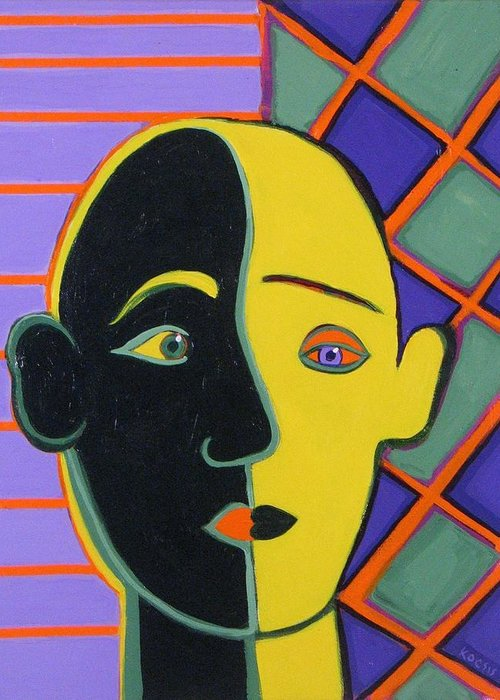 Face Greeting Card featuring the painting Better Half by Rollin Kocsis