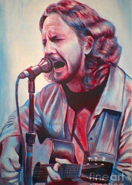 Derek Donnelly Greeting Card featuring the painting Betterman Eddie Vedder by Derek Donnelly