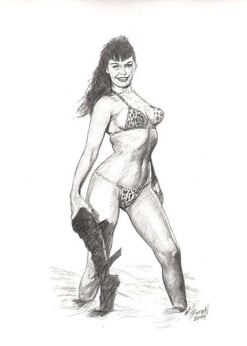 Betty Page Greeting Card featuring the drawing Betty Jungle Girl by Will Brown