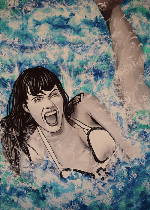 Betty Page Greeting Card featuring the painting Betty Page by Matt Brown
