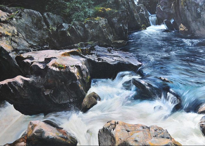 Landscape Greeting Card featuring the painting Betws-y-coed Waterfall by Harry Robertson