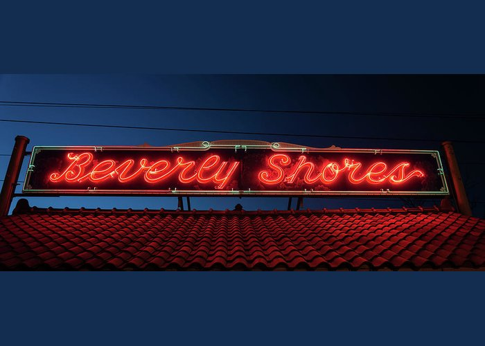 Neon Greeting Card featuring the photograph Beverly Shores Indiana Depot Neon Sign Panorama by Steve Gadomski