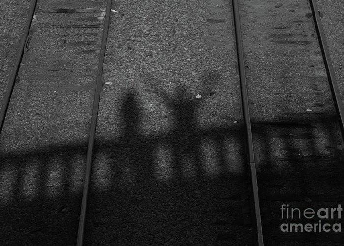 Shadow Greeting Card featuring the photograph Beware Of The Shadows Black And White by Karol Livote