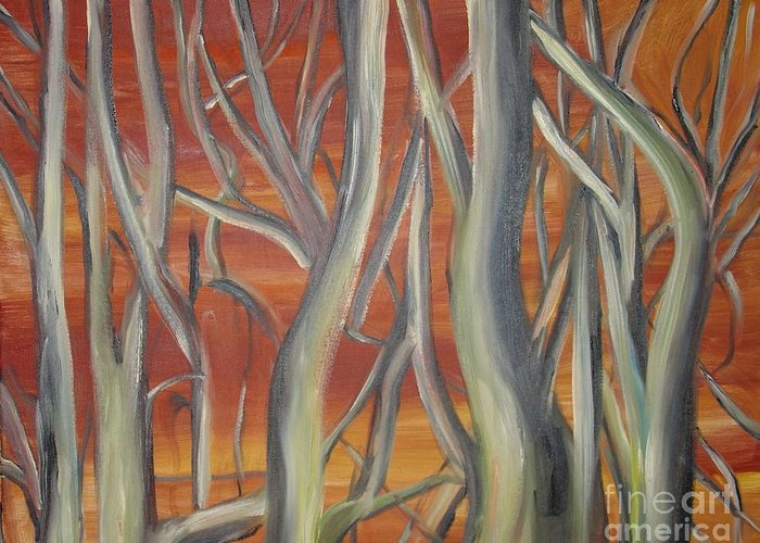 Trees Forest Original Painting Abstract Greeting Card featuring the painting Beyond by Leila Atkinson