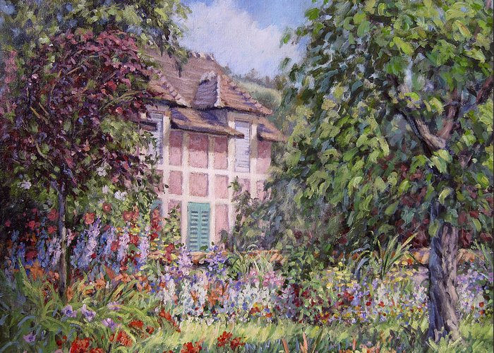 Monets Garden Greeting Card featuring the painting Beyond The Garden by L Diane Johnson