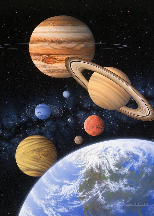 Lynette Cook Greeting Card featuring the painting Beyond The Home Planet by Lynette Cook