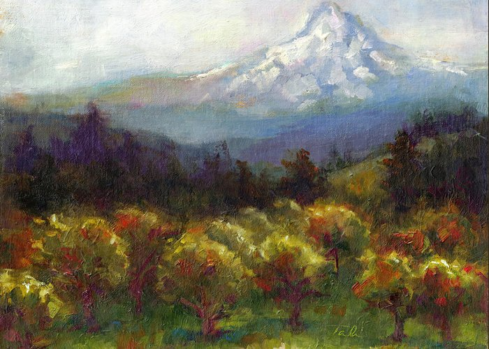 Mt. Greeting Card featuring the painting Beyond The Orchards by Talya Johnson