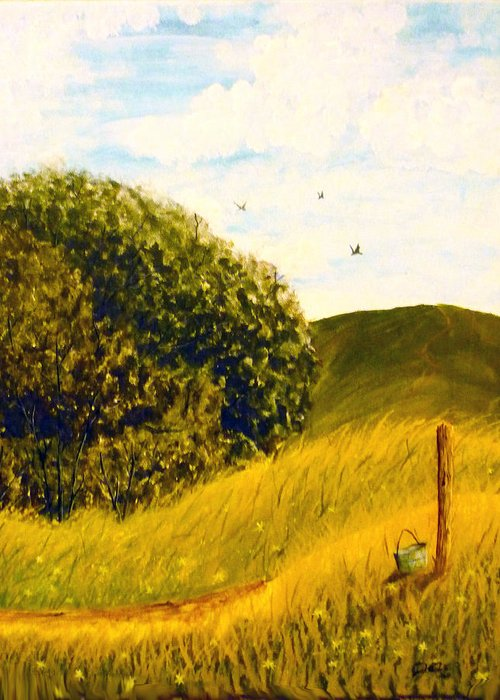 Landscape Greeting Card featuring the painting Beyond The Path by Christian Hidalgo