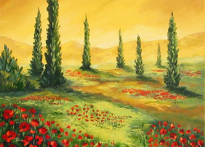 Tuscan Greeting Card featuring the painting Beyond The Tuscan Sun by Torrie Smiley