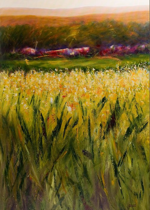 Landscape Greeting Card featuring the painting Beyond The Valley by Shannon Grissom