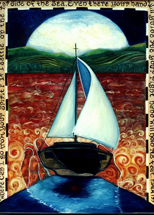 Sailboat Greeting Card featuring the painting Beyond These Shores by Teresa Carter
