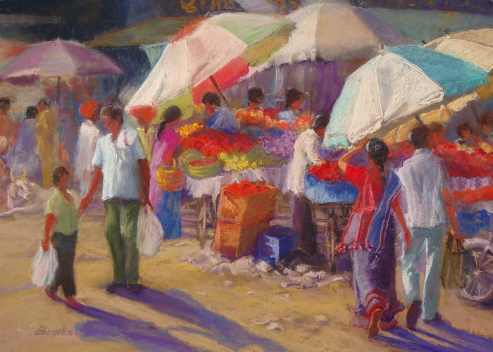 Markets Greeting Card featuring the painting Bhuj Street Market by Beth Brooks