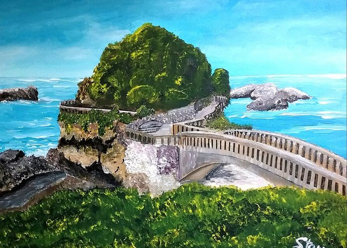 Biarritz Greeting Card featuring the painting Biarritz Bridge by Irving Starr
