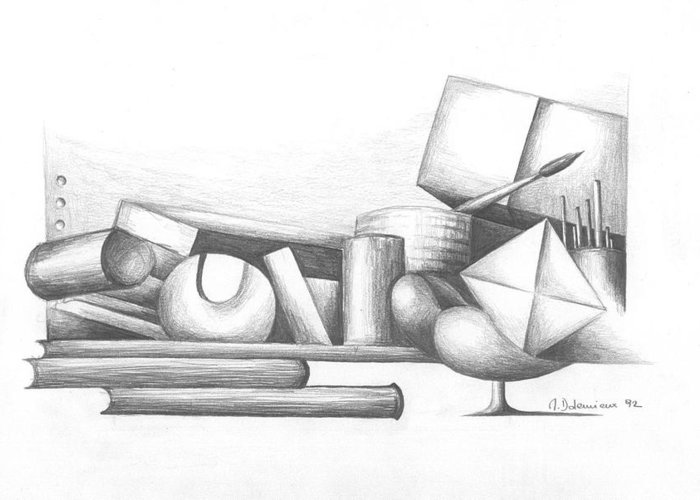 Still Life Greeting Card featuring the drawing Bibliotheque by Muriel Dolemieux