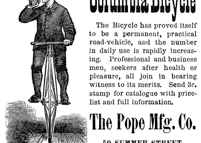 1880s Greeting Card featuring the photograph Bicycle Ad, 1880 by Granger