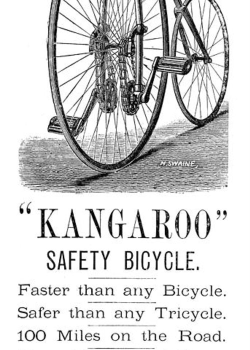 1885 Greeting Card featuring the photograph Bicycle Ad, 1885 by Granger